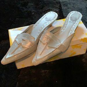 Silver metallic leather mules